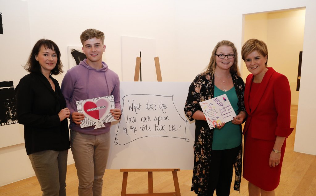 Care Review launch with Fiona Duncan First Minister and young people